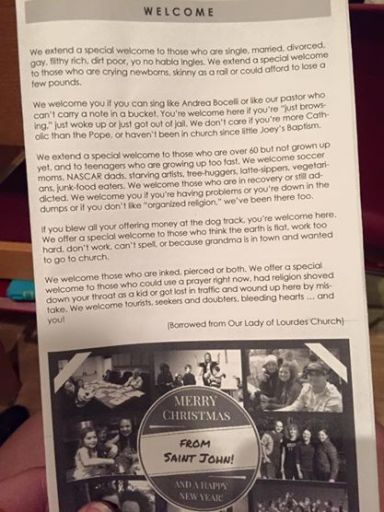 This was in the Christmas Eve bulletin at Saint John UMC. It's a reminder to all of us to
